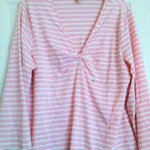CACIQUE pink striped LONG SLEEVE LOUNGE pajama TOP